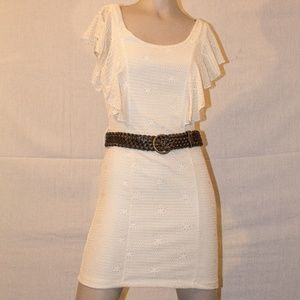 Charlotte russe white lace dress with belt